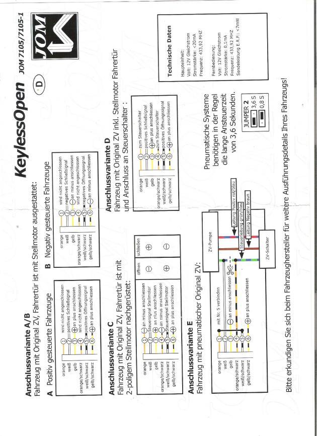 ZV MK1 mit Funkfehrnbedienung Nachrüsten Problem