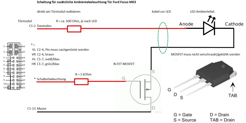 Focus 3 (Bj. Jan.11-Sep.14) DYB - LED-Ambientebeleuchtung m ...
